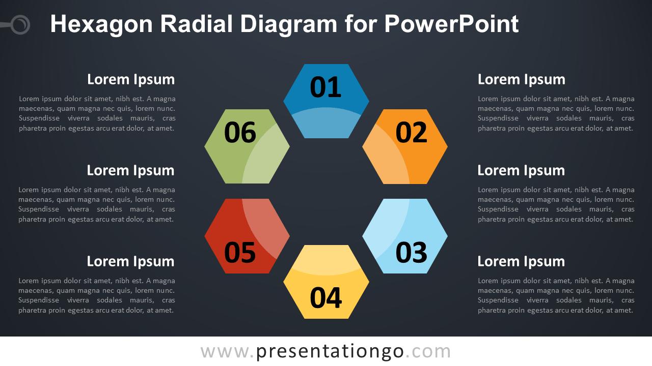 Free Hexagon Radial for PowerPoint - Dark Background