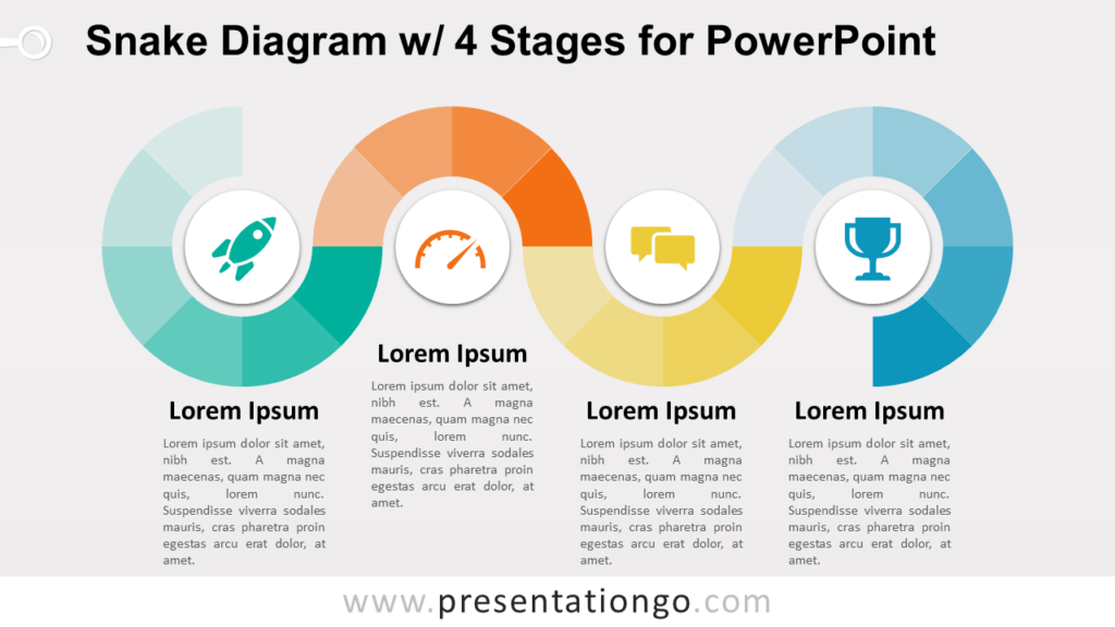 Free Snake Diagram with 4 Stages - PowerPoint Template