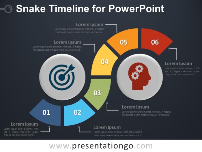 Free Snake Timeline for PowerPoint - Dark