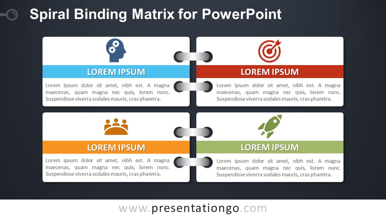 Free Spiral Binding Matrix Template for PowerPoint - Dark Background