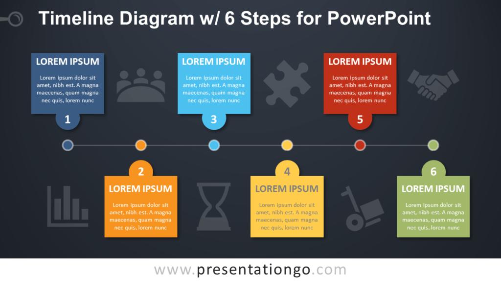 Free Timeline with 6 Steps PowerPoint Diagram - Dark Background