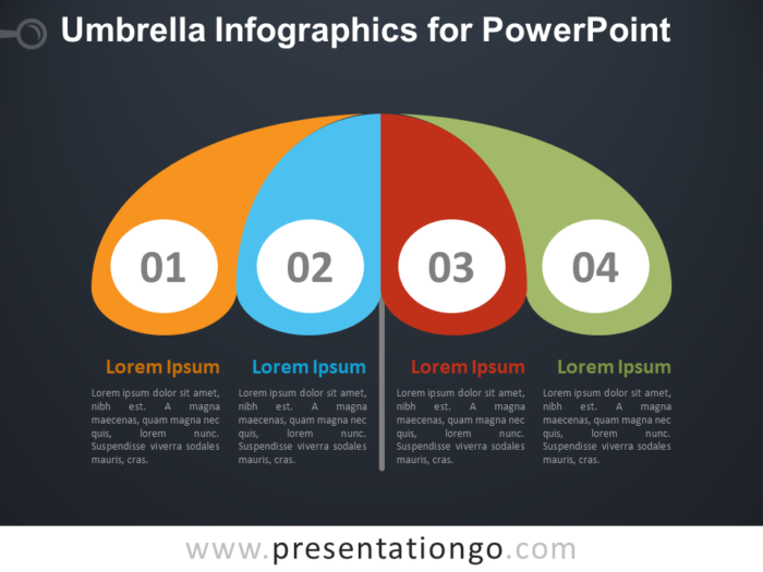Free Umbrella Infographics for PowerPoint - Dark Background
