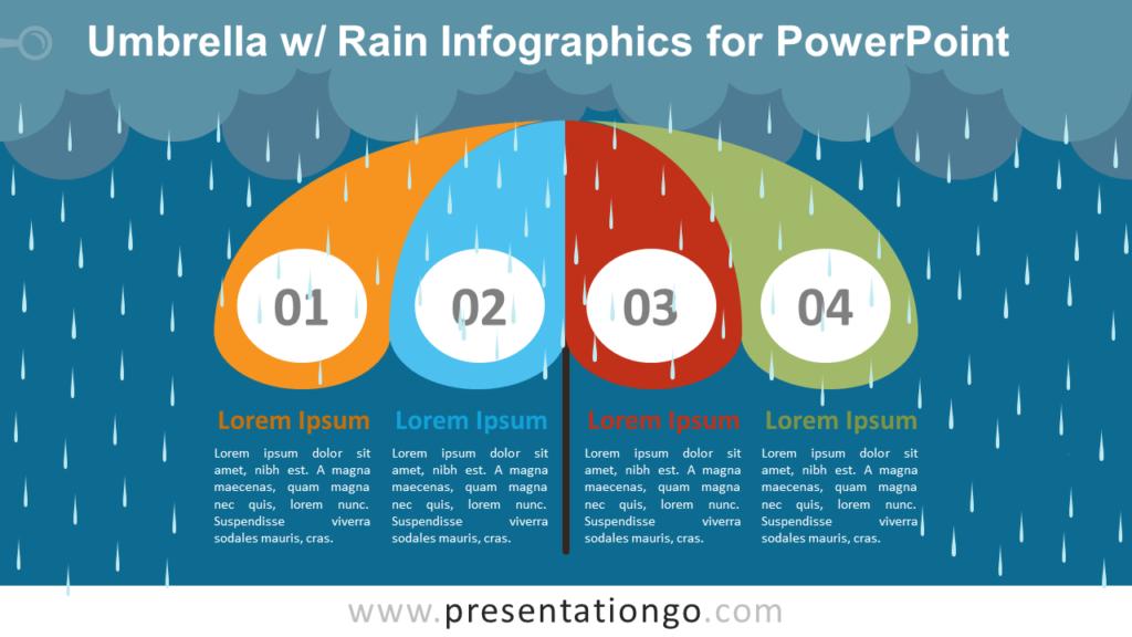 Umbrella with Rain Diagram - Free PowerPoint Infographics