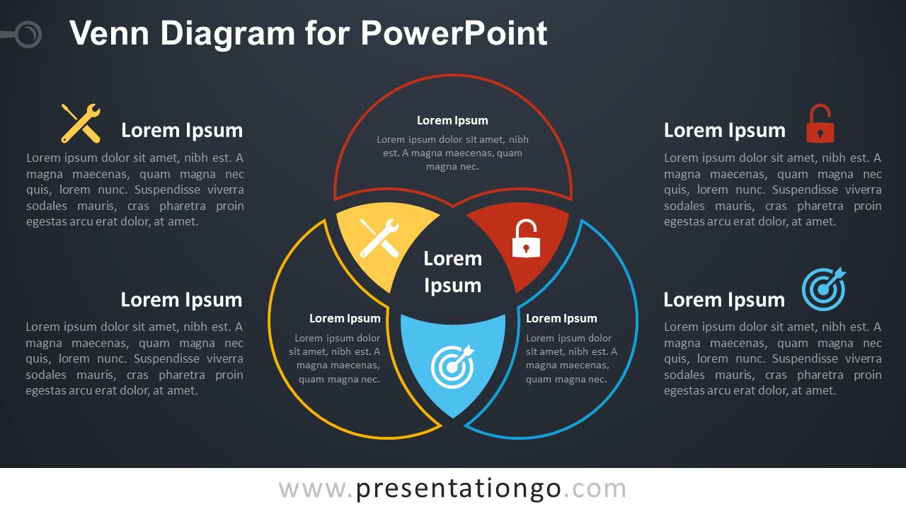 Free Venn Diagram Template for PowerPoint - Dark Background
