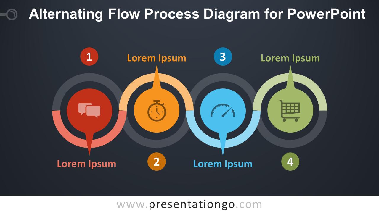 Free Alternating Flow Process for PowerPoint - Dark Background