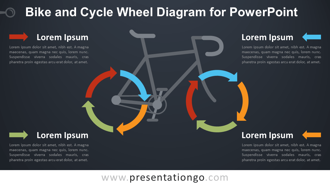 Free Bike and Cycle Wheel for PowerPoint - Dark Background