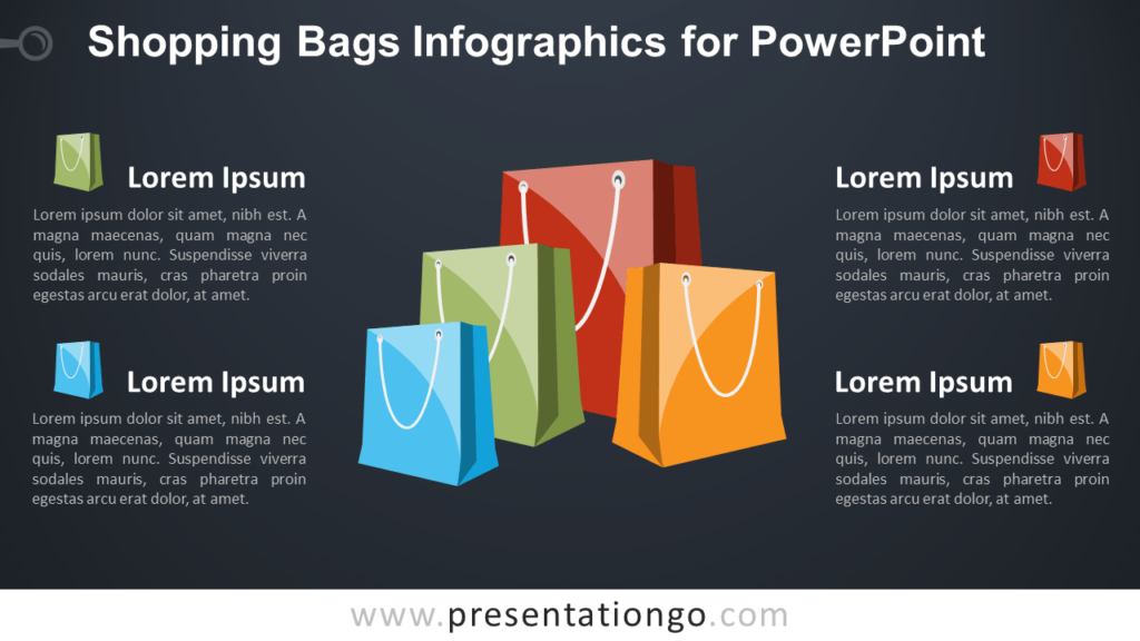 Free Shopping Bags for PowerPoint - Dark Background