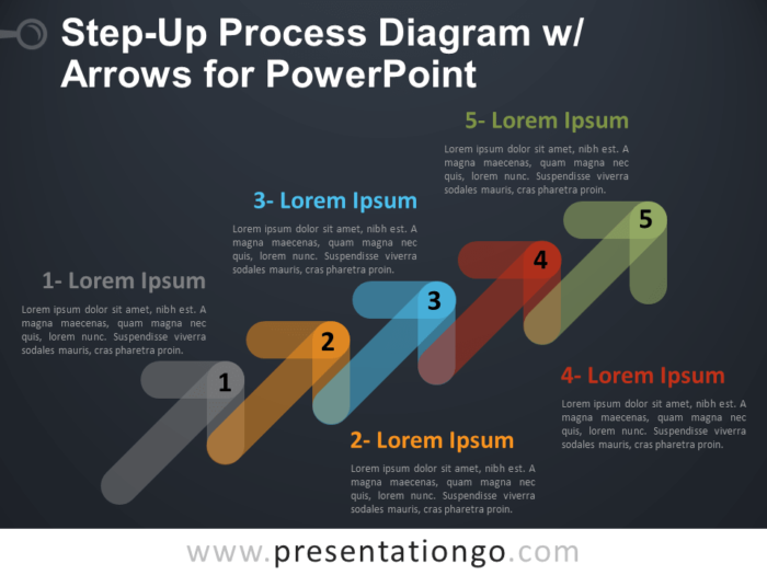Free Step-Up Process Diagram with Arrows for PowerPoint - Dark Background