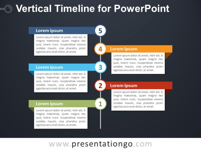 Free Vertical Timeline for PowerPoint - Dark Background