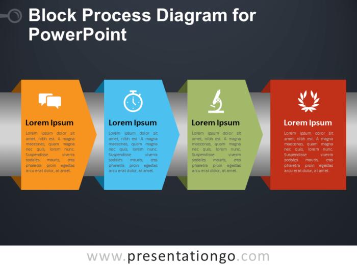 Free Block Process Diagram for PowerPoint - Dark Background