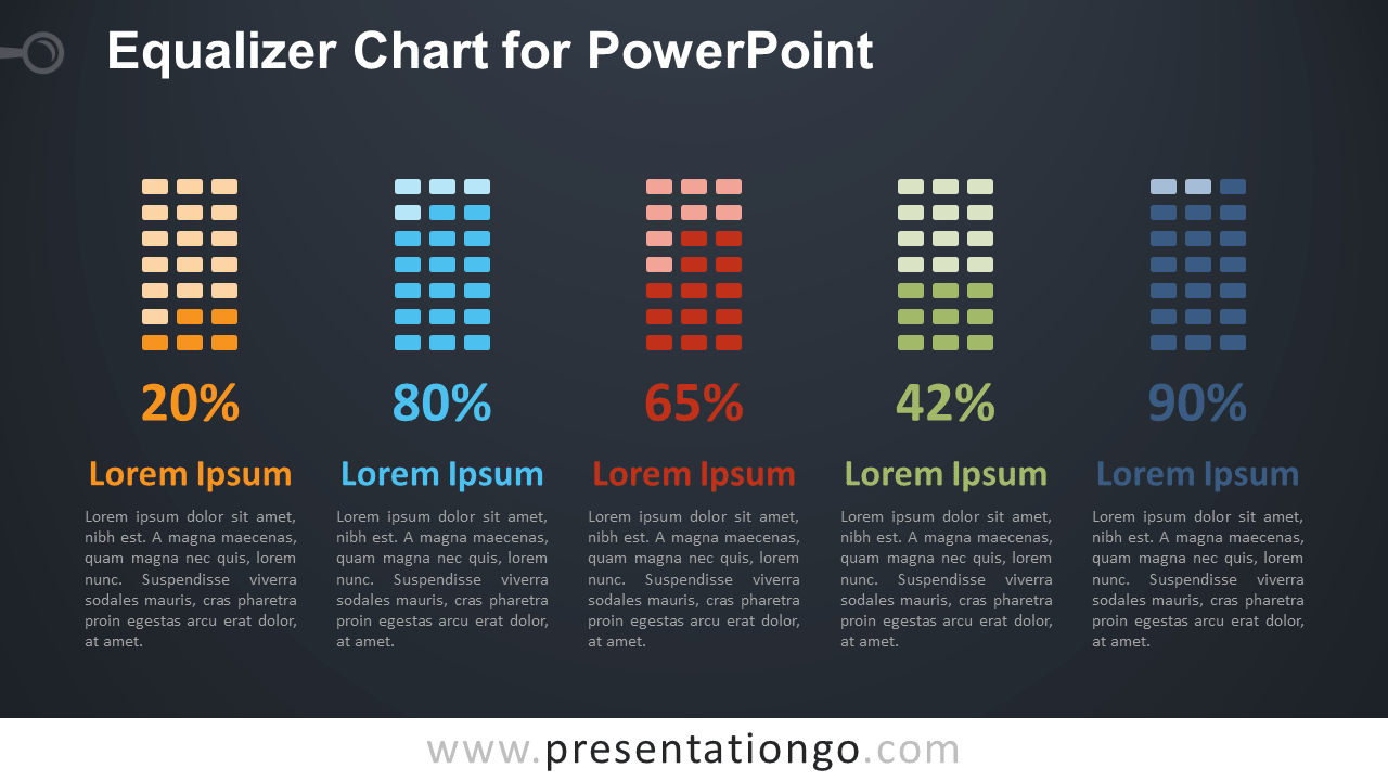 Free Equalizer Chart Diagram for PowerPoint - Dark Background