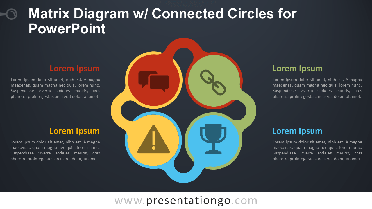 Free Matrix with Connected Circles for PowerPoint - Dark Background
