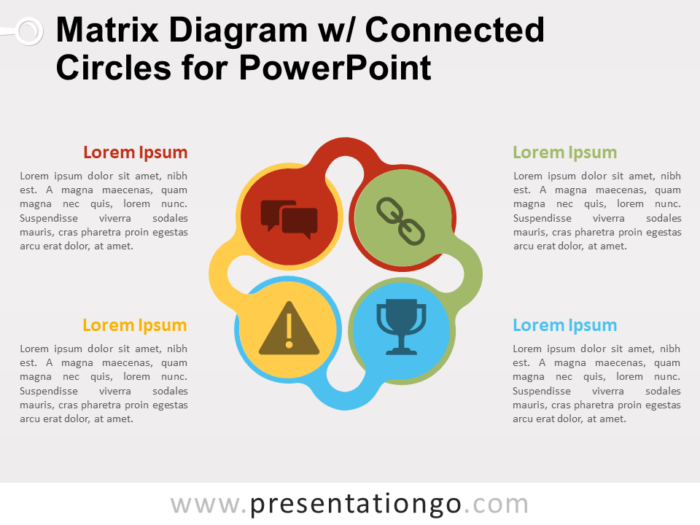 Free Matrix Diagram with Connected Circles for PowerPoint
