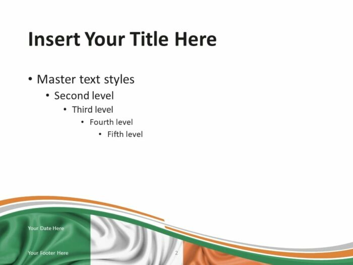 Free Flag of Ireland PowerPoint Template - Content Slide