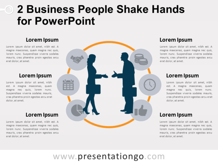 Free 2 Business People Shake Hands Template for PowerPoint