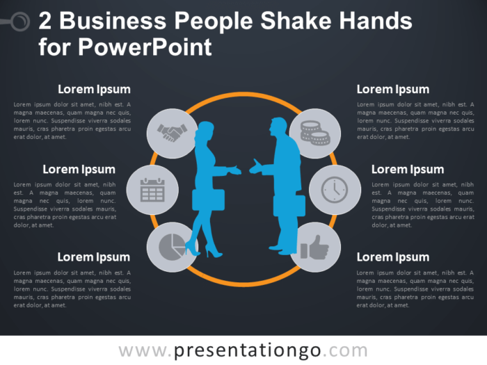 Free 2 Business People Shake Hands Template for PowerPoint - Dark Background