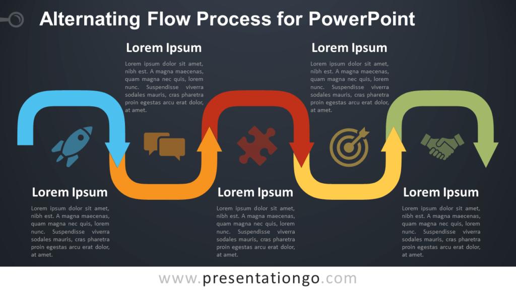 Free Alternating Flow Process Diagram for PowerPoint - Dark Background