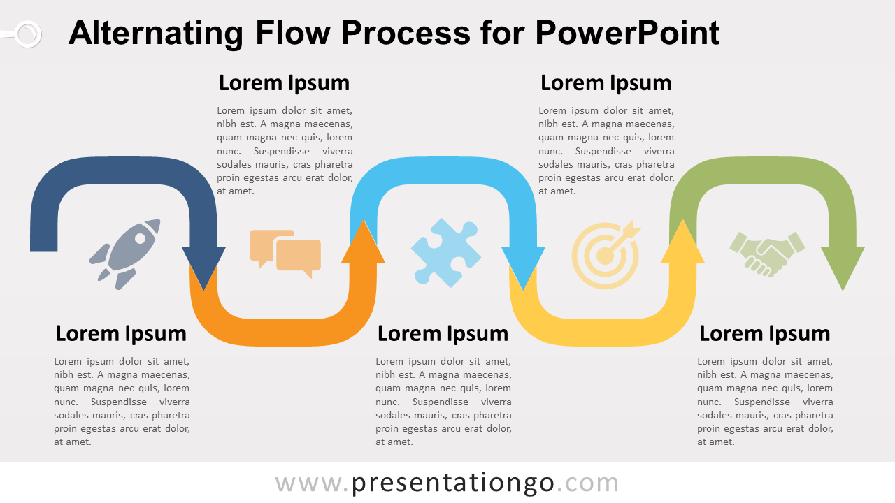 Free Alternating Flow Process Diagram for PowerPoint