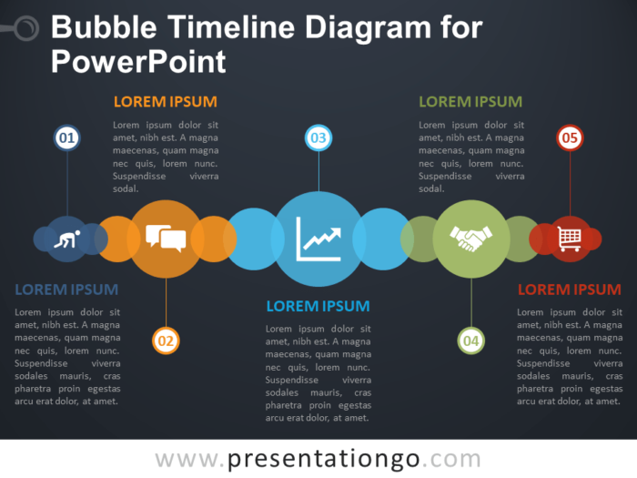 Free Bubble Timeline Diagram for PowerPoint - Dark Background