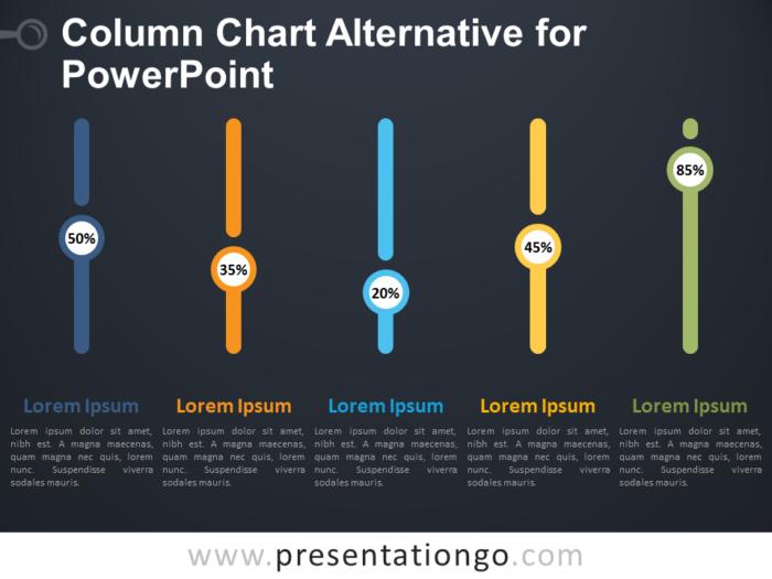 Free Column Chart Alternative for PowerPoint - Dark Background