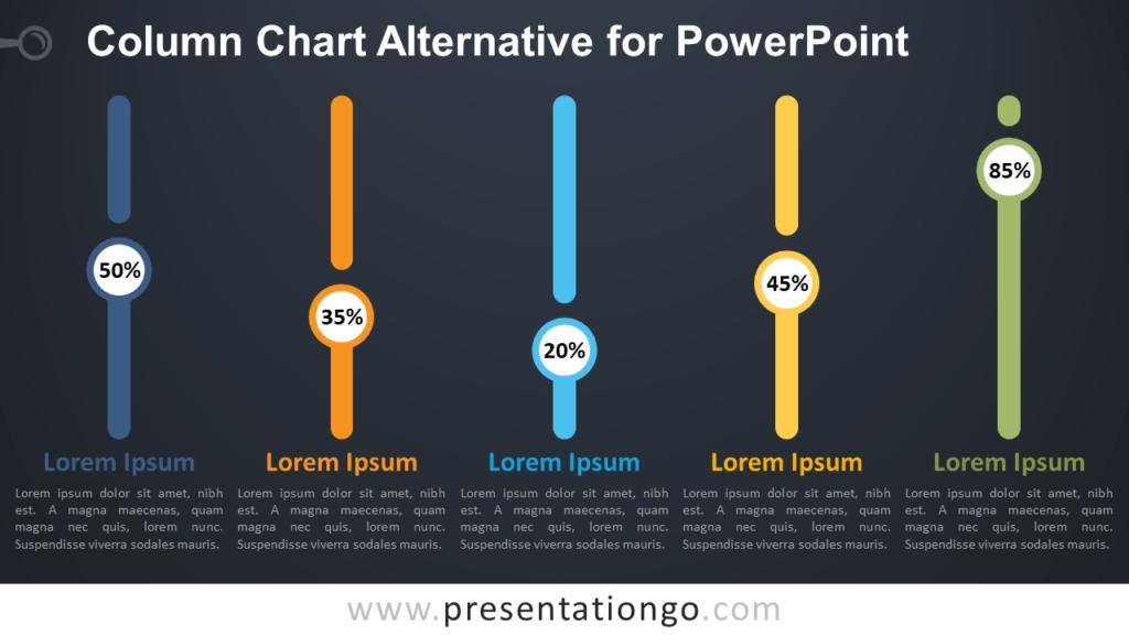Free Column Chart Alternative PowerPoint Infographics - Dark Background