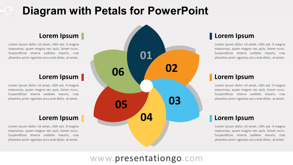 Free Flower Diagram with Petals for PowerPoint
