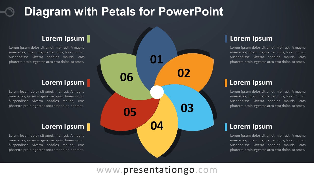 Free Flower Diagram with Petals for PowerPoint - Dark Background