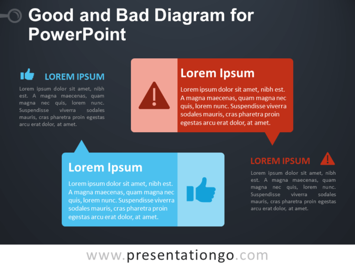 Free Good and Bad Diagram for PowerPoint - Dark Background
