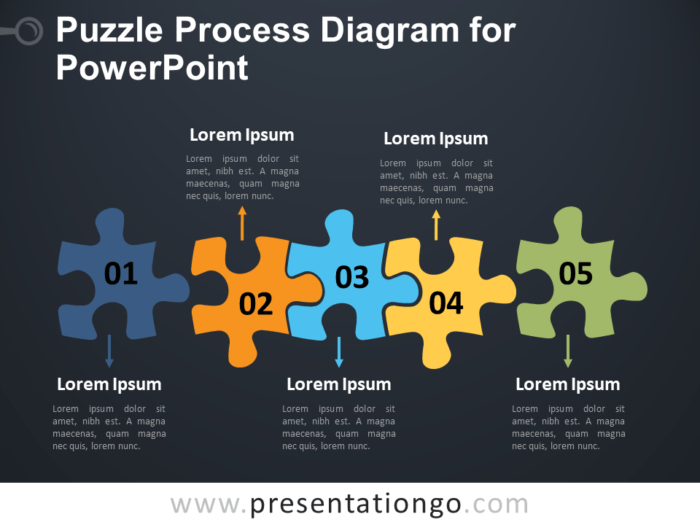 Free Puzzle Process Diagram for PowerPoint - Dark Background