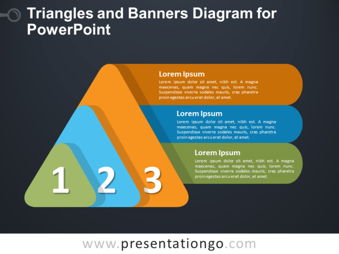 Free Triangles and Banners Diagram for PowerPoint - Dark Background