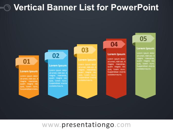 Free Vertical Banner List for PowerPoint - Dark Background
