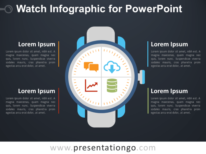 Free Watch Infographic for PowerPoint - Dark Background