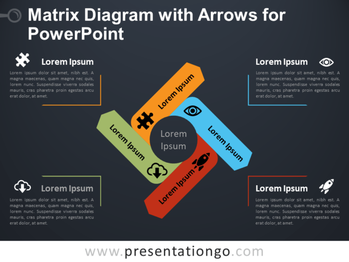 Free Matrix Diagram with Arrows for PowerPoint - Dark Background