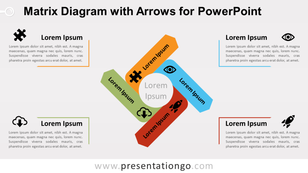 Free Matrix Diagram for PowerPoint with Arrows