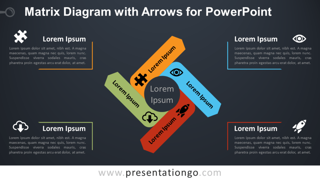 Free Matrix Diagram for PowerPoint with Arrows - Dark Background