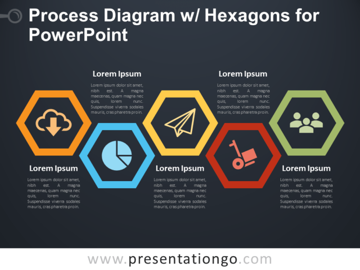 Free Process Diagram with Hexagons for PowerPoint - Dark Background
