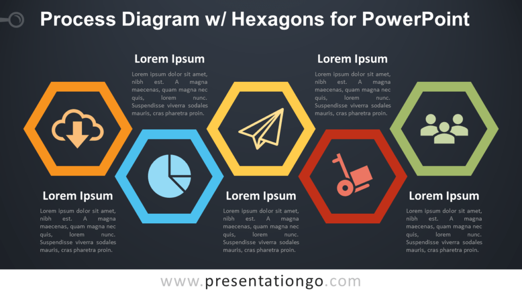 Free Process with Hexagons - PowerPoint Diagram - Dark Background