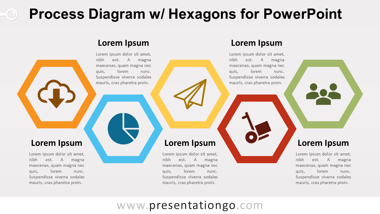 Free Process with Hexagons - PowerPoint Diagram