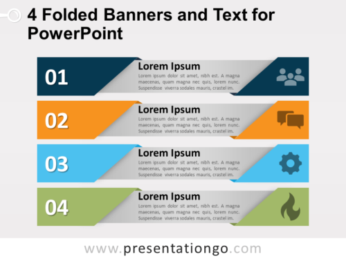 Free 4 Folded Banners and Text for PowerPoint
