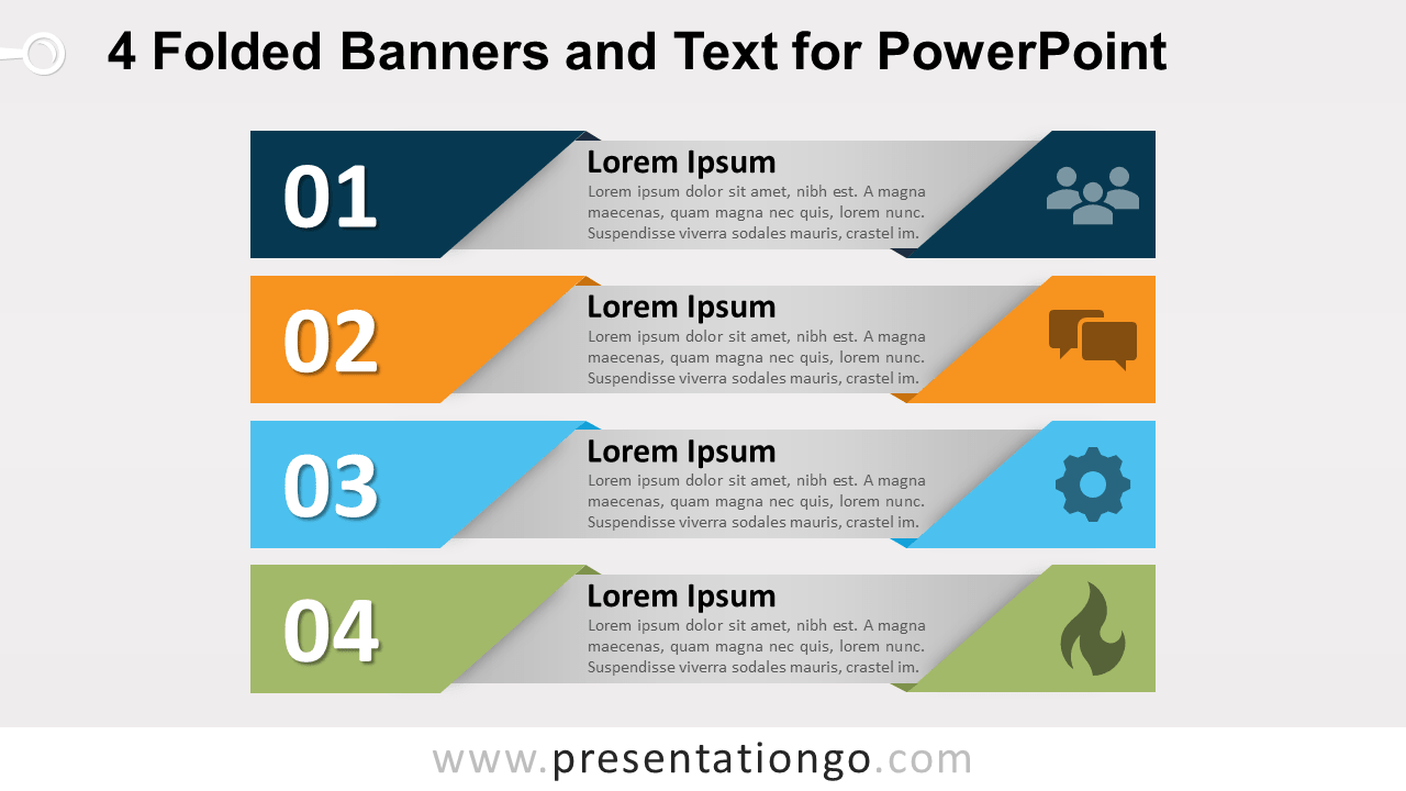 Free 4 Folded Banners with Text for PowerPoint