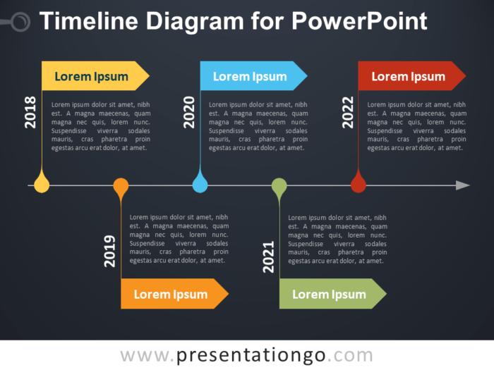 Free Timeline Diagram for PowerPoint - Dark Background