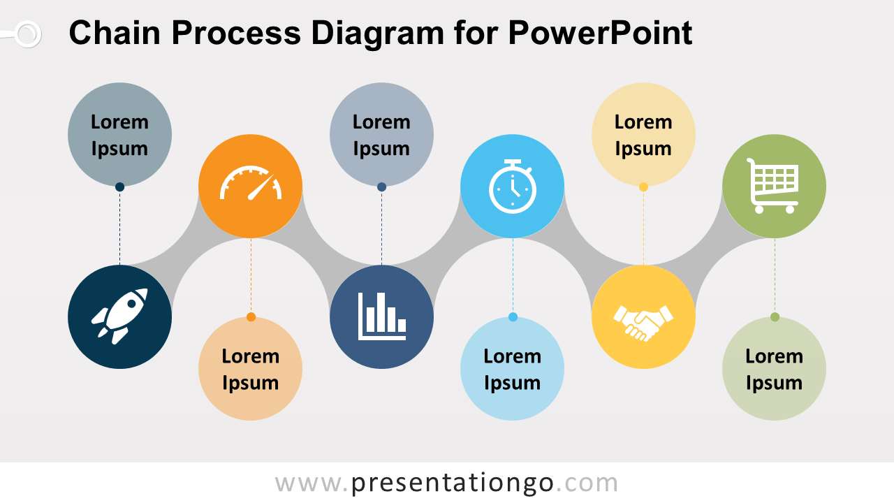 Free Chain Process for PowerPoint with Bubbles