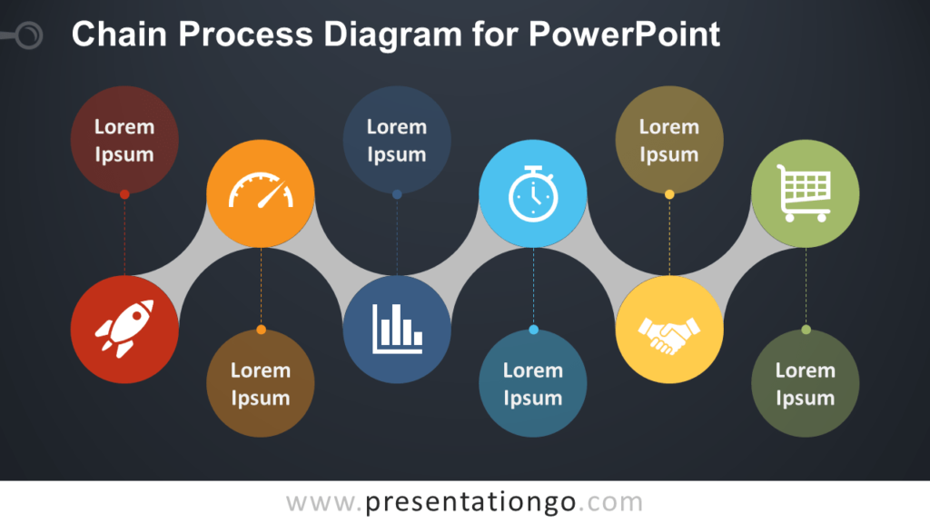 Free Chain Process for PowerPoint - Dark Background