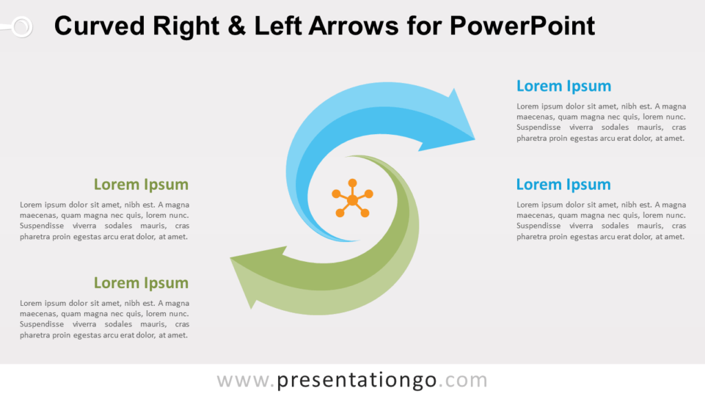 Curved Right and Left Arrows for PowerPoint Diagram