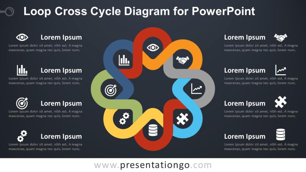 Free Loop Cross Cycle PowerPoint Diagram - Dark Background