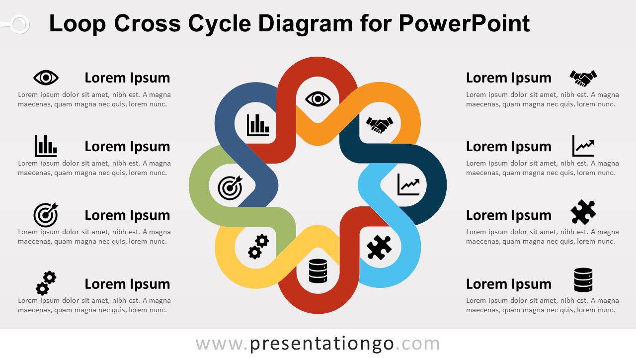 Free Loop Cross Cycle PowerPoint Diagram