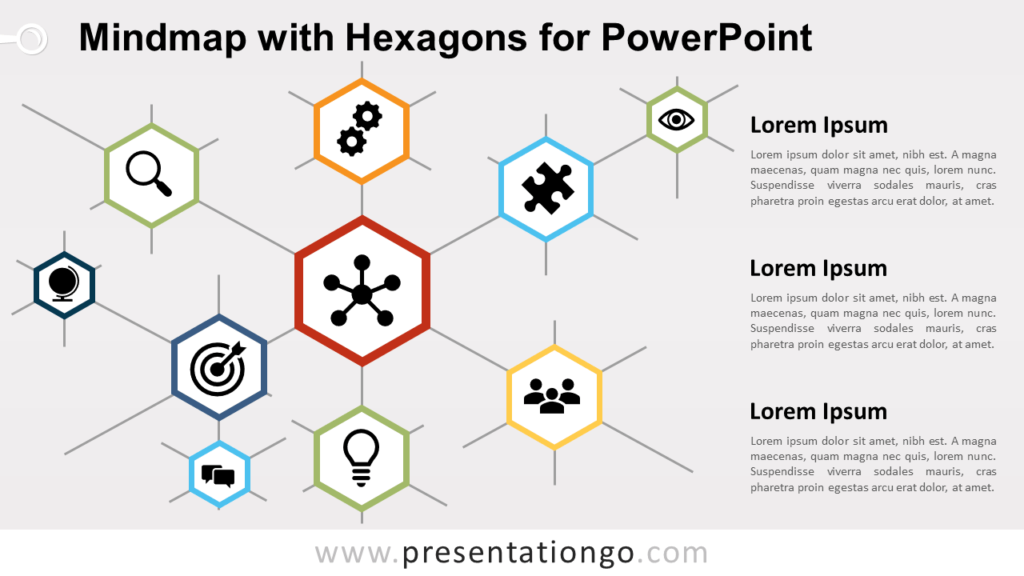 Free Mindmap Hexagons Diagram for PowerPoint