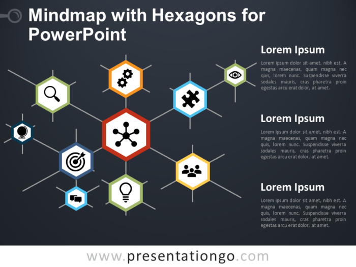 Free Mindmap with Hexagons for PowerPoint - Dark Background