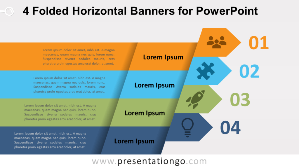 4 Folded Horizontal Banners - Free PowerPoint Diagram