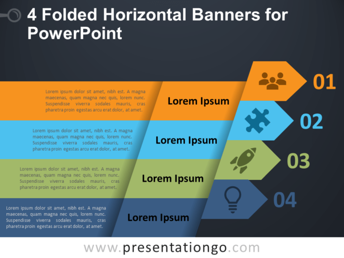 Free 4 Folded Horizontal Banners - PowerPoint Template